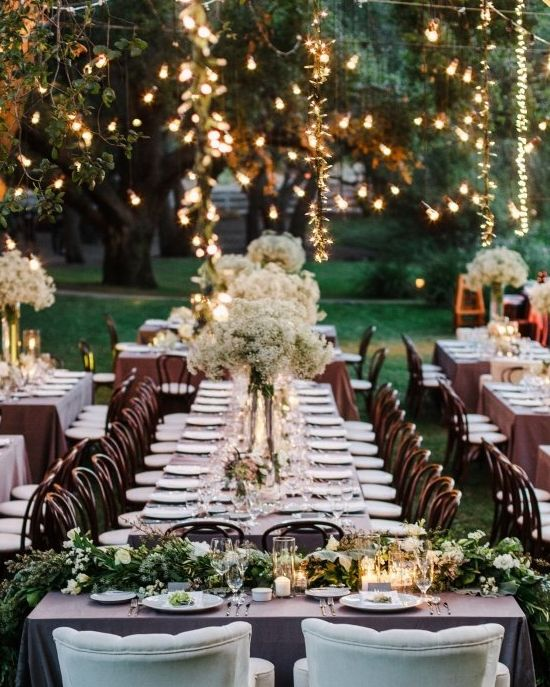 Add pretty lights to an outdoor party- it will make the night really pop!