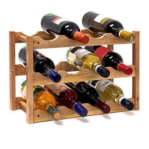 Relaxdays 10019279 Weinregal klein 28 x 42,5 x 21 cm Holz Flaschenregal mit 3 Ebenen f�r 12 Flaschen Wein kleiner Weinflaschenhalter aus Walnuss ge�lt zur waagerechten Lagerung, nat�rlich