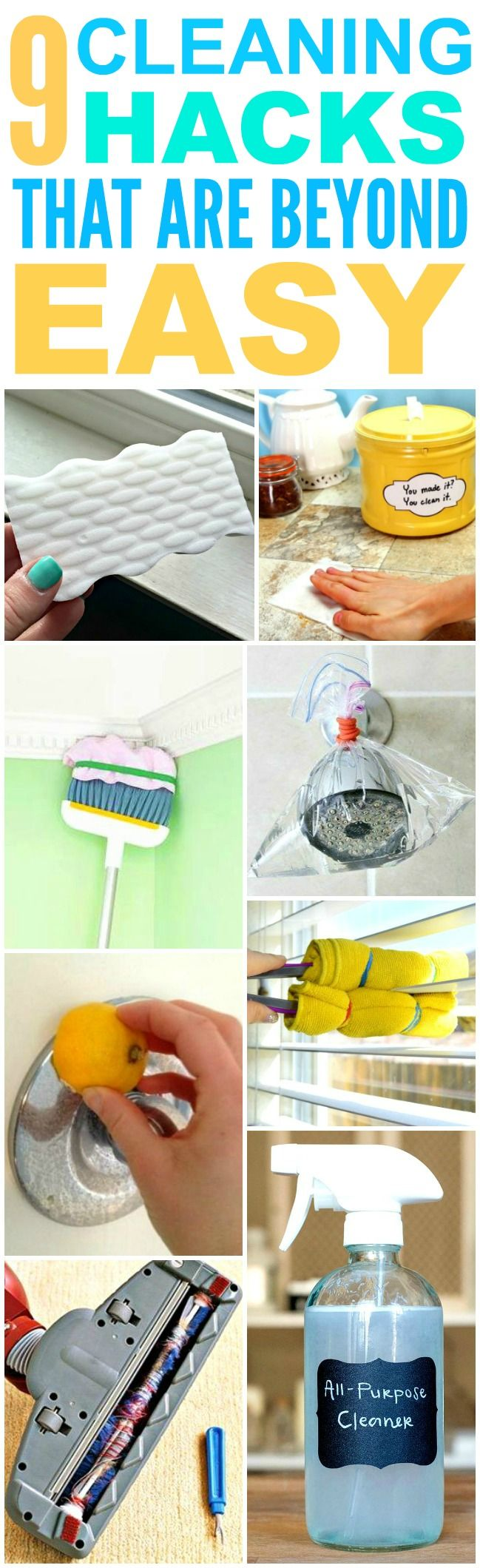 These 9 cleaning hacks for every room in the house are THE BEST! I'm so happy I found these GREAT tips! Now I have fast and easy home cleaning tips and tricks! Definitely pinning!
