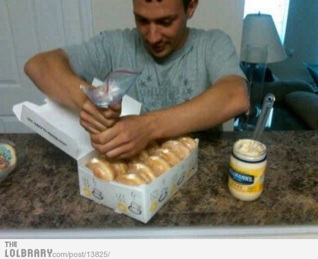 Mayonnaise Donut PrankJokes, Doughnuts, April Fools Pranks, April Fools Day, Aprilfoolsday, Donuts, Funny Stuff, So Funny, Funny Pranks