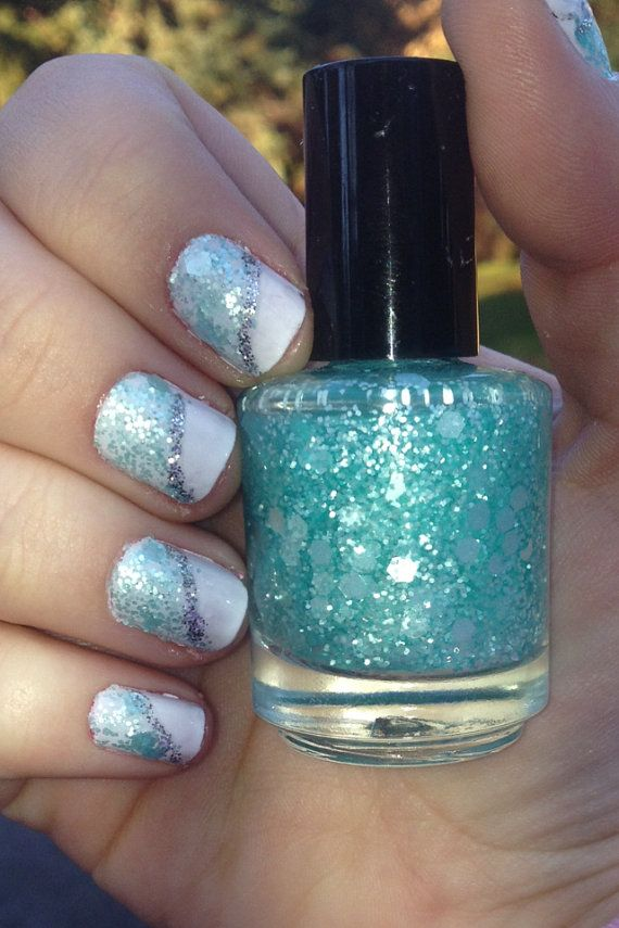 Hey I Found This Really Awesome Etsy Listing At Https Www 168623060 Ocean Wave Handmade Aqua Glitter Nail Naglar Pinterest