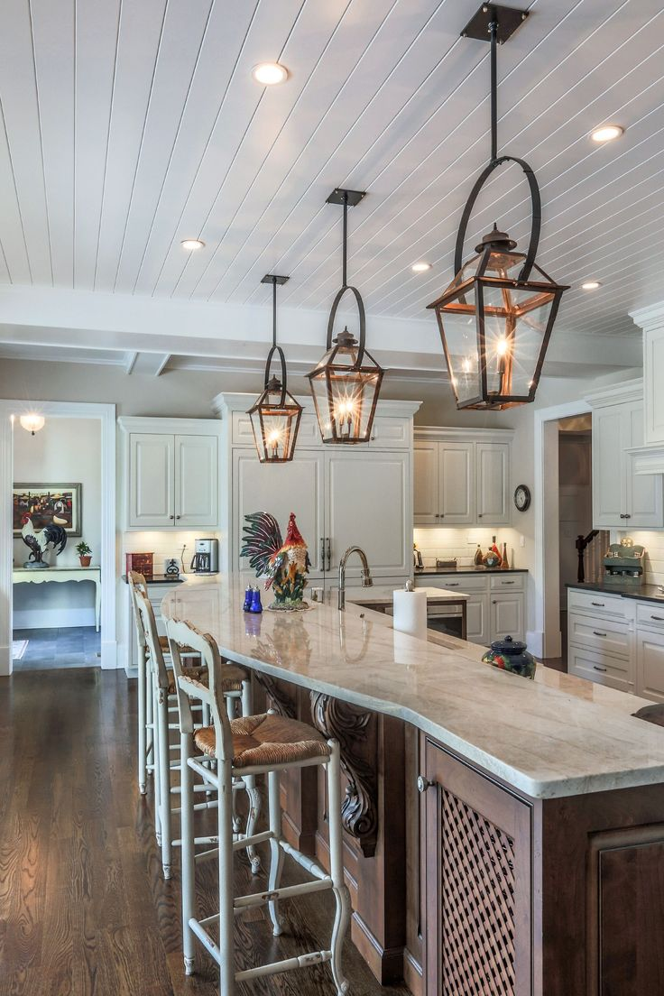 Copper lanterns with black bails over 15-foot island ... on Rustic:fkvt0Ptafus= Farmhouse Kitchen  id=36673