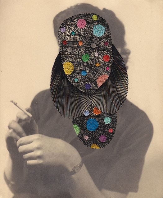 Maurizio Anzeri,Embroidery on photograph.I like this piece because of the use of different media's and how you can't see the women's face.