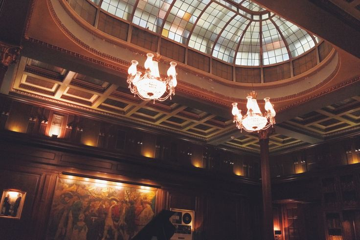 Beautiful glass ceiling at The Library Bar, The Copenhagen Plaza Hotel