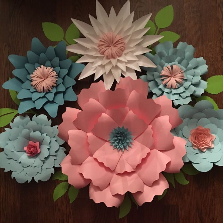 Large pink and blue paper flowers for baby showers or nursery!!