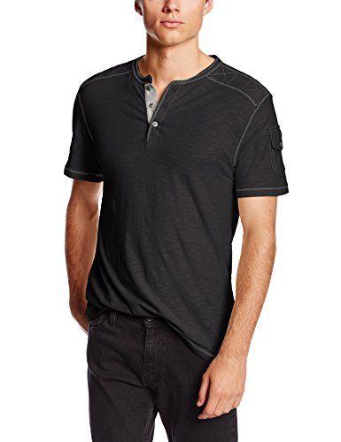Modern Culture Men's Jack Short Sleeve Henley, Black, Large