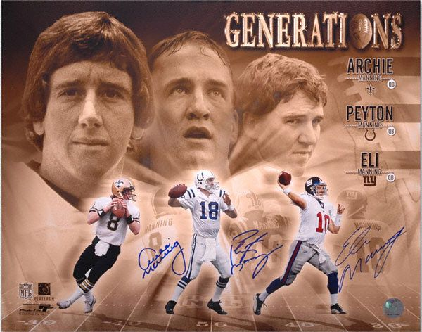 Peyton Manning Family | Archie, Peyton, and Eli Manning Multi Autographed 16x20 Photograph_I Want This!