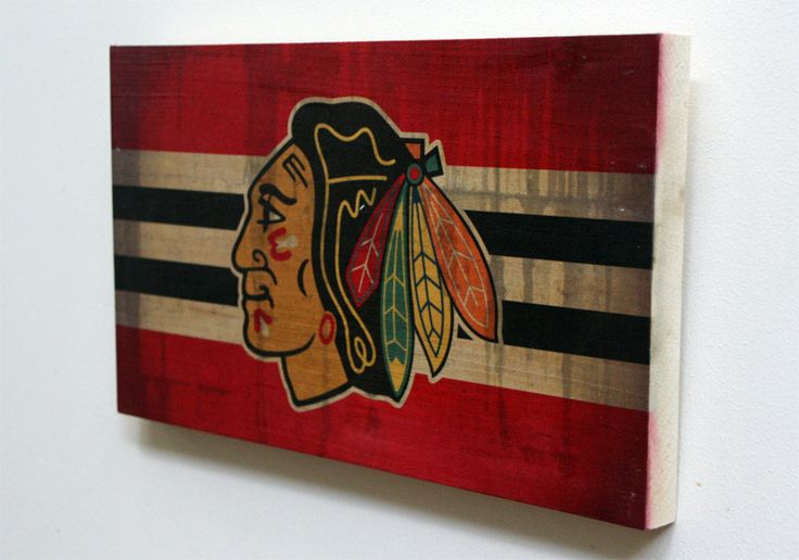 Decorative Wooden Plaque with Chicago Blackhawks by WOODSNACKS, $30.00