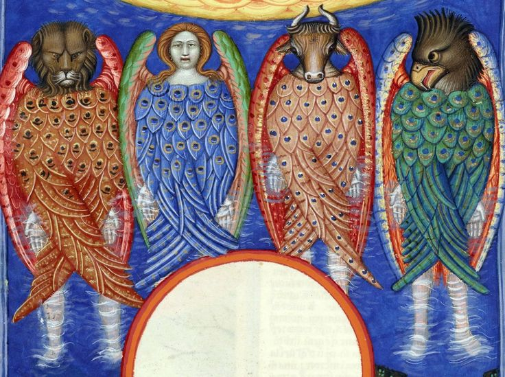(Ezekiel 1:1-30) 'Also out of the midst thereof came the likeness of four living creatures ... two wings of every one were joined one to another, and two covered their bodies.' Nicolaus de Lyra super Bibliam, Italy ca. 1402. Manchester, John Rylands University Library, Latin MS 30, fol. 123v