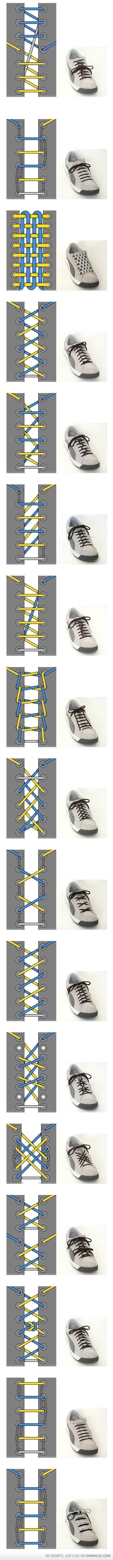 Shoe lace patterns: Ties Shoes, Idea, Style, Clothing, Shoes Lace, Lace Shoes, Kids, Things, Who Knew