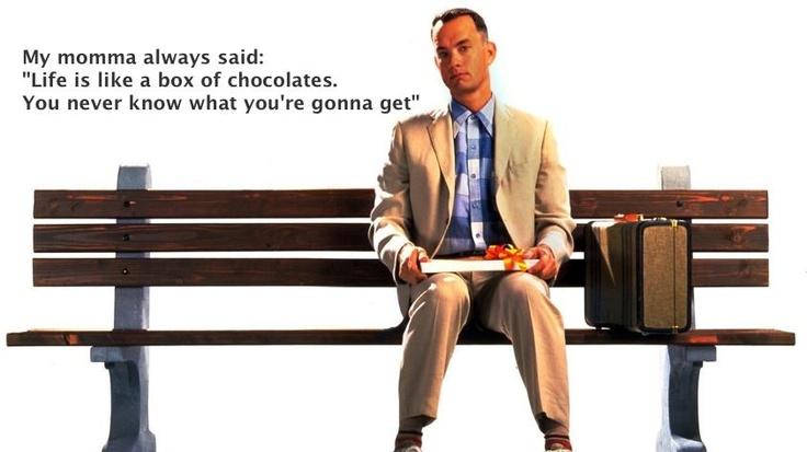 """My momma always said, """"Life is like a box of chocolates. You never know what you're gonna get.""""  1994  Forrest Gump è un film del 1994 diretto da Robert Zemeckis e interpretato da Tom Hanks.  Forrest Gump ha incassato quasi 680 milioni di dollari in tutto il mondo.  #forrest #gump #storytelling #directo"""
