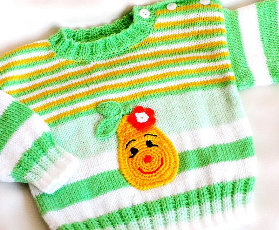 New Hand knitted baby sweater in modern by Svetlanababyknitting, $44.00