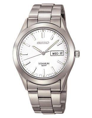 Seiko Titanium Day/Date Watch - White Face