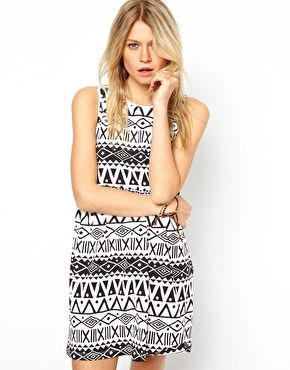ASOS Smock Dress In Aztec Print