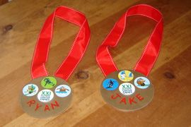 Olympic medals made from CDs. Great craft idea for young children.