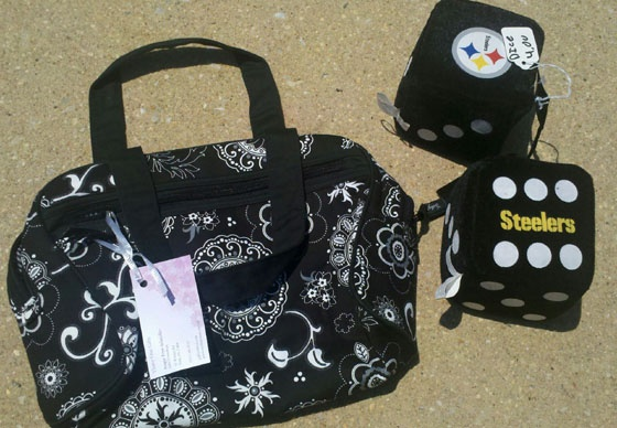 Deals of the week: A nice Thirty One bag was ours for a steal. We also picked up some Steelers merchandise at a sale on Friday.