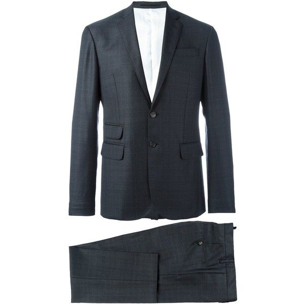 Dsquared2 Two Piece Suit ($1,531) ❤ liked on Polyvore featuring men's fashion, men's clothing, men's suits, men's 2 piece suits, mens gray suit, mens grey suits and mens two piece suits