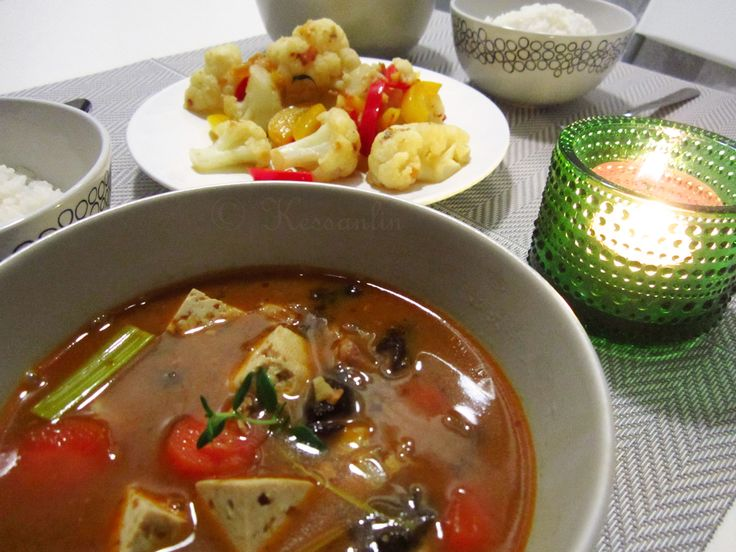 Recipe 5 - DoenJang Jigae (Korean Bean Paste Soup) with Stir-fried Cauliflower.