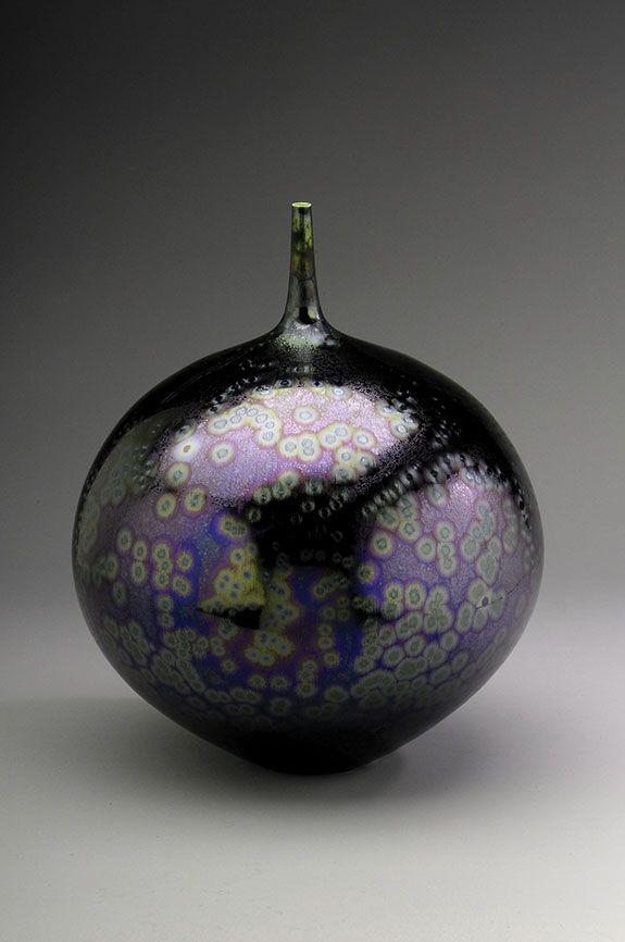 "Hideaki Miyamura, Vase, sea foam purple glaze, porcelain, 12.75 x 9.5 x 9.5"""