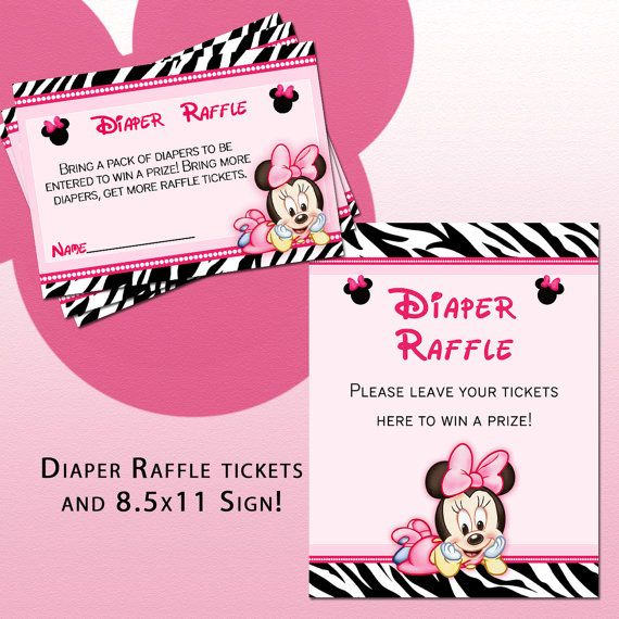Minnie Mouse Zebra Print Baby Shower: DIY Printable Baby Minnie Mouse Diaper By