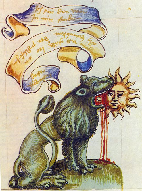 """The Green Lion Devouring the Sun  In alchemy, the green lion eats the sun. On a chemical level this is a metaphor for when a green, liquid sulfate called """"vitriol"""" purifies matter, leaving behind the gold within the matter. Very pure vitriol is an acid that eats through practically anything, except gold. ... ..."""