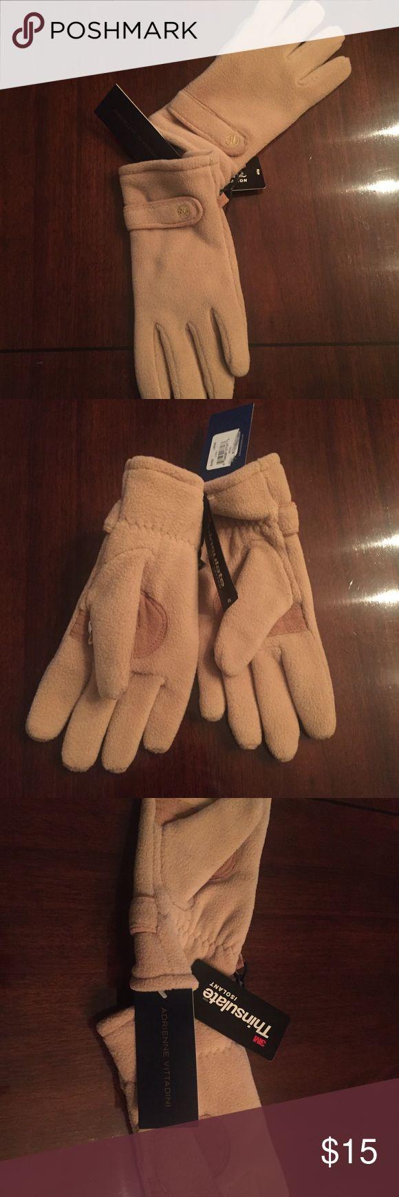 Leather work gloves screwfix - Nwt Adrienne Vittadini Tan Thinsulate Gloves Nwt