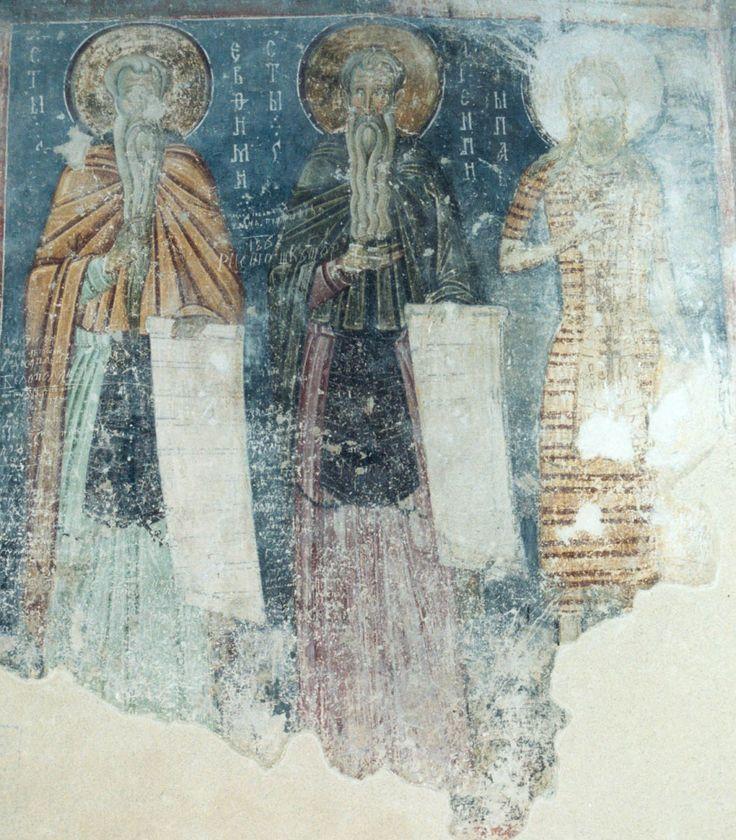 42Eutimio, Arsenij, Paolo di Tebe. Affresco Chiesa della Santissima Trinità. Sopochany. 52.jpg (1051×1200)