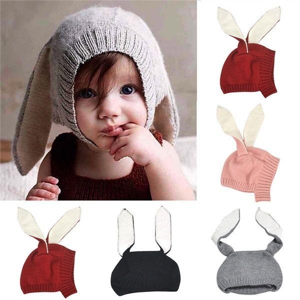 Beanie Hat Baby Girl Toddler Crochet Knit Cap Photo Prop Bunny Rabbit Toy