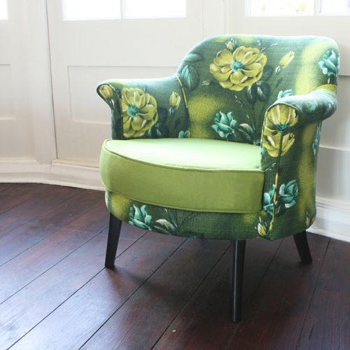005 ~Vintage Bucket Chair~ Upholstered in Green 1950s Barkcloth and Wool Felt | eBay