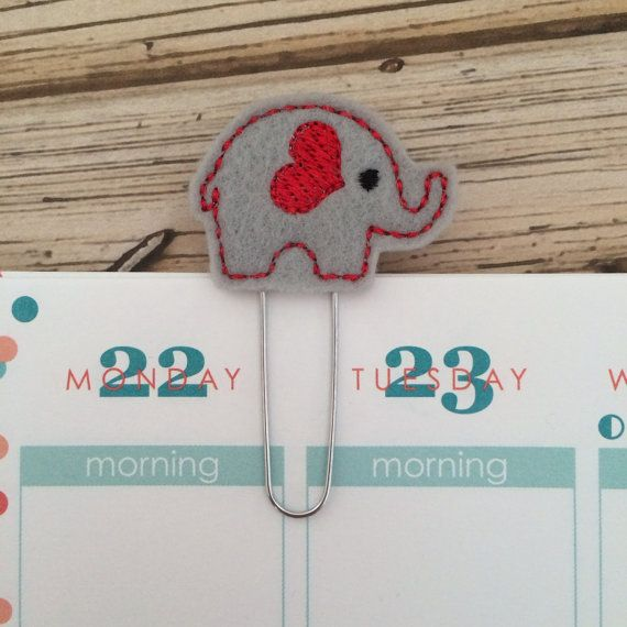 Elephant  red  right facing  Book mark by createdbydanielle1