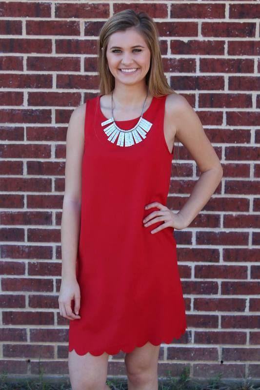 Red Scallop Dress - Luna Boutique