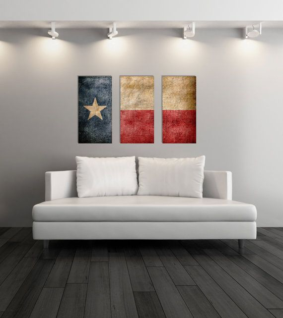 Triptych Vintage Texas Flag, Panel Canvas Art, Vintage Texas, Gift Ideas,  Wall