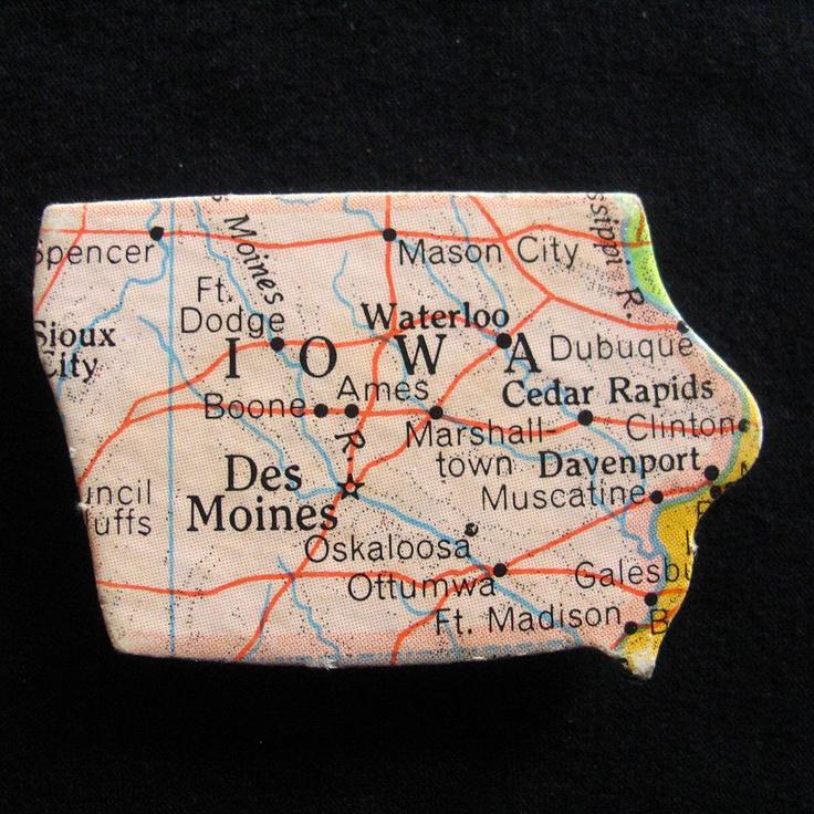 Fabcom Iowa Road Map Magnet i