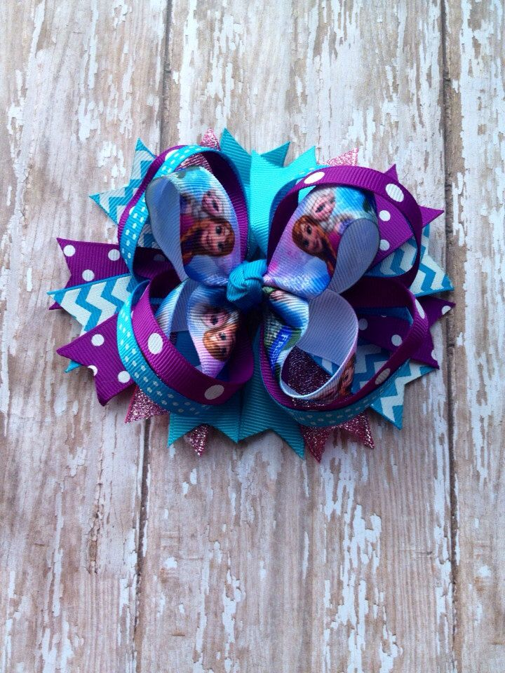 Frozen hair bow boutique hair bow over the by alliballiboutique, $8.00