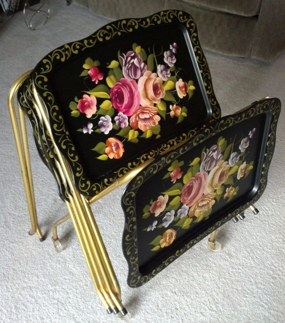 Vintage Black Floral Metal TV Trays on Storage Rack with Wheels ~ awesome!