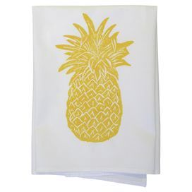 """Showcasing a pineapple motif in goldenrod, this hand block printed cotton dishtowel lends a touch of tropical charm to your kitchen decor.  Product: Set of 2 dishtowelsConstruction Material: 100% CottonColor: YellowFeatures: Hand block printedPineapple motifDimensions: 30"""" x 30"""""""