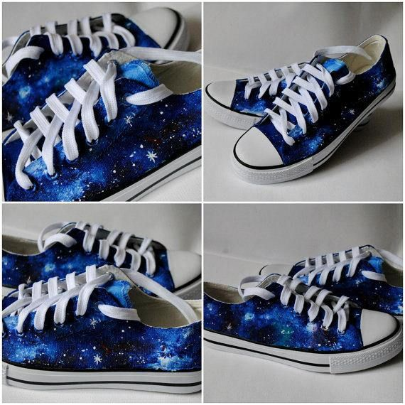 6cb4c98ca7a4 Custom handpainted galaxy sneakers. Acrylic paint on canvas non-brand low  top shoes or Converse Every size is possible. I use US size chart! US size  chart!