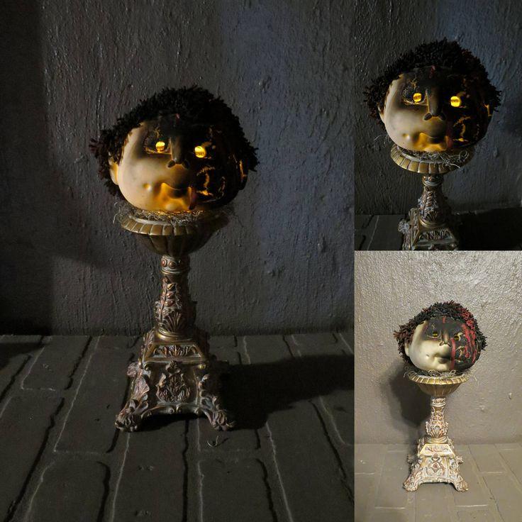 Creepy Doll Head Light Up Halloween Decoration, Battery ...