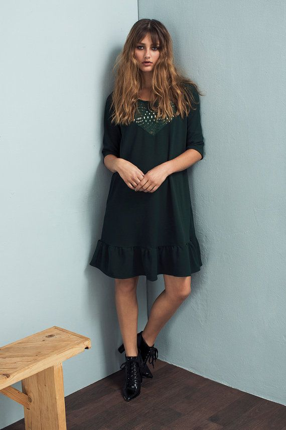 Green dress - Loose fit dress - Embroidered dress - Lace dress - Short sleeve…