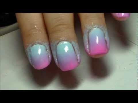 Unhas em degradê rosa, lilás e azul (Ombré Nails) - YouTube