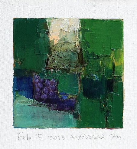Feb. 15, 2013 - Original Abstract Oil Painting - 9x9 painting (9 x 9 cm - app. 4 x 4 inch) with 8 x 10 inch mat. $60.00, via Etsy.