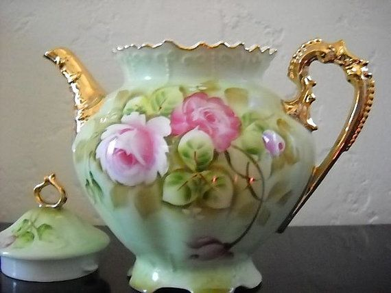 Vintage Lefton China Green Heritage Pattern Teapot With Hand Painted Pink Rose Design And Gold
