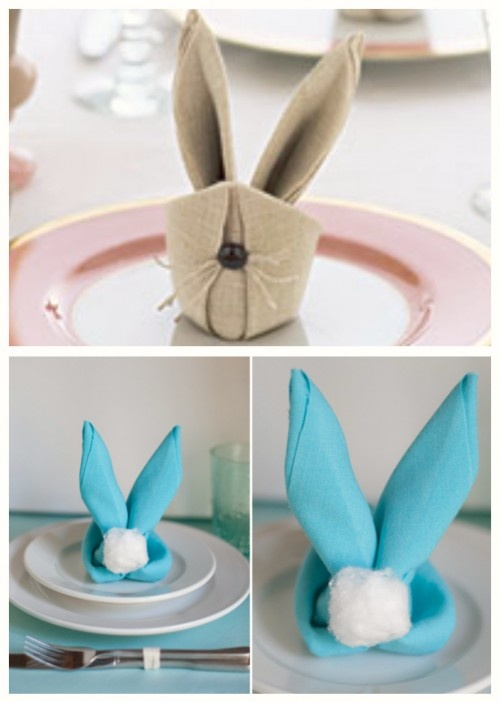 How to make bunny napkins these cute as a button cottontails made from spray starched square - Fold bunny shaped napkin ...