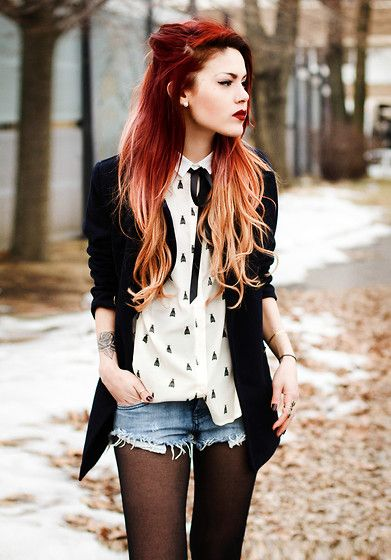 I love this outfit. The shorts go well the black tights and the blouse and navy blazer are super cute.