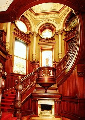 the Stair Hall features a gas fireplace without a chimney, and a domed stair that doubles as circulation and air conditioning system. Bishop's Palace - Galveston, TX