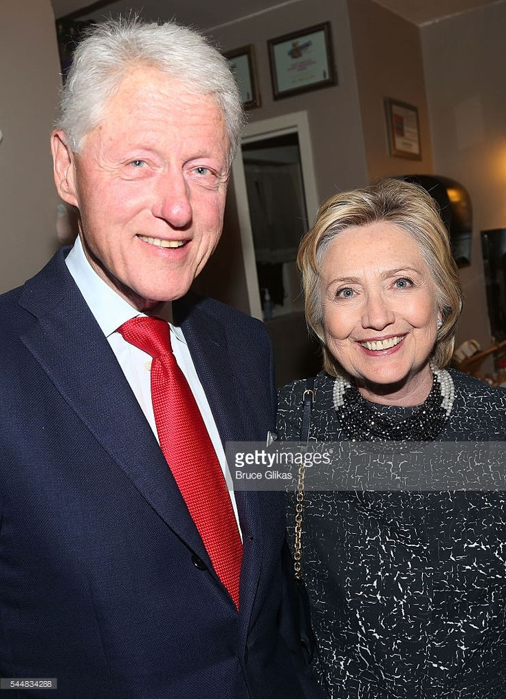 Bill Clinton and Hillary Clinton pose backstage at the hit musical 'Hamilton' on Broadway at The Richard Rogers Theatre on July 2, 2016 in New York City.