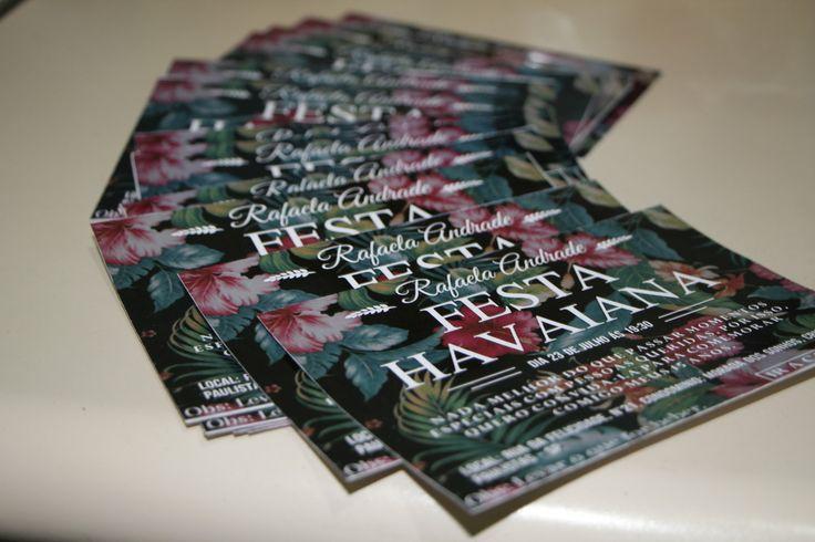Convite Personalizado Festa Tropical  Pra você inovar na sua festa com tema havaiano! Convite floral, impresso em papel brilhoso!    Todas as informações deverão ser enviadas logo após a confirmação da compra! Entraremos em contato solicitando os dados pra montagem do produto! Para isso é impresc...