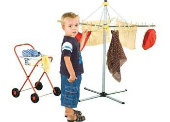 Clothes Line & Laundry Trolley Set
