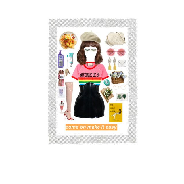 """Come on make it easy"" by marianaduartecamara-1 ❤ liked on Polyvore featuring Gucci, Salsa, Forever 21, FromNicLove, Dollhouse, L'Oréal Paris, Garrett Leight and Eos"