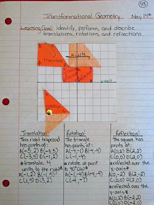 Sunday Math Journals - Transformational Geometry as seen on Sixth Grade Staff  www.sixthgradestaff.com